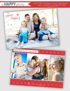 Merry & Bright, Holiday Card Template, Photographers, PSD, WHCC, 5x7 flat and folded, christmas photo card