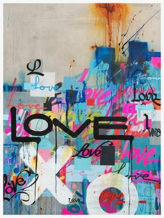 graffiti art Concrete Love is a framed limited edition contemporary print by iconic Los Angeles-based visual artist and one of LA's original Graffiti artists Karlos Marquez. Murals Street Art, Graffiti Wall Art, Graffiti Painting, Street Art Graffiti, Mural Art, Graffiti Artists, Graffiti Bedroom, Street Wall Art, Urban Street Art