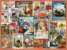 """Flower Seeds.  A colorful collection of vintage seed packets. Artist: Lois Sutton : 550 piece jigsaw puzzle: Item 926: Finished size 18"""" X 24"""""""