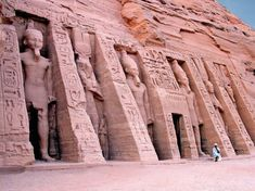 Abu Simbel is an ancient temple complex, originally cut into a solid rock cliff, in southern Egypt and located at the second cataract of the Nile River. Luxor, Egypt Queen, Ancient Egyptian Architecture, Visit Egypt, Nile River, Egypt Travel, Tours, Ancient History, Ancient Art