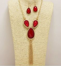 Gold and Red Faux Opal Tassel Necklace Set