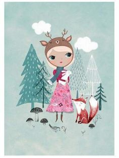 Rebecca Jones Nature Girl With Dear Hat and Fox Print