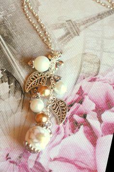 collana in argento ,perline di vetro, perla di porcellana, elementi d'argent VENDESI 5 euro!!!!!!!!