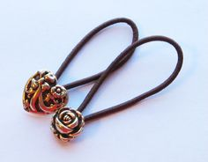 Heart and Rose Button Ponytail Holders by PrettyPonytails11, $4.50