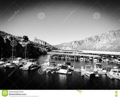 Boats Docked In Marina In Black And White. - Download From Over 48 Million High Quality Stock Photos, Images, Vectors. Sign up for FREE today. Image: 77521525