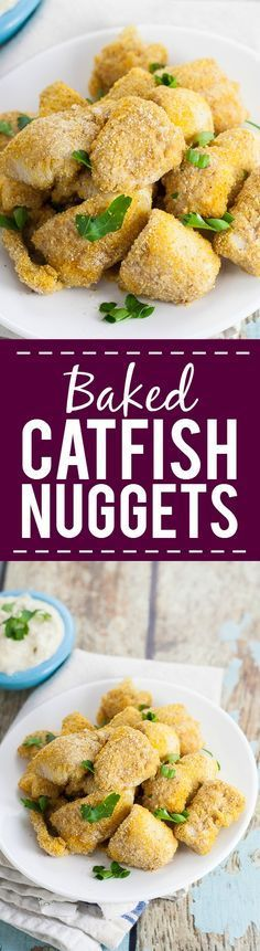 Baked Catfish Nuggets Recipe - Make these healthy, quick, and easy Baked Catfish Nuggets in just 30 minutes with 5 ingredients. Breaded with cornmeal and Cajun seasoning for a kick. Serve with your fa (Baking Salmon In Oven) Catfish Nuggets Recipes, Fried Catfish Nuggets, Baked Catfish Recipes, Seafood Dishes, Seafood Recipes, Cooking Recipes, Healthy Recipes, Budget Cooking, Shellfish Recipes