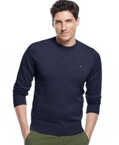 TOMMY HILFIGER Tommy Hilfiger Signature Solid Crew-Neck Sweater. #tommyhilfiger #cloth # sweaters