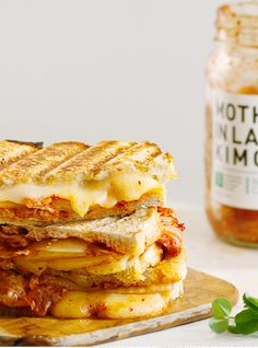 This Grilled Kimcheez Sandwich #recipe looks divine. Wonder what it would taste like with my Sriracha-Cheddar Swirl Bread (http://www.epicurious.com/recipes/food/views/Cheddar-Sriracha-Swirl-Bread-364269) hugging its deliciously gooey interior...