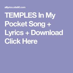 TEMPLES In My Pocket Song + Lyrics + Download  Click Here