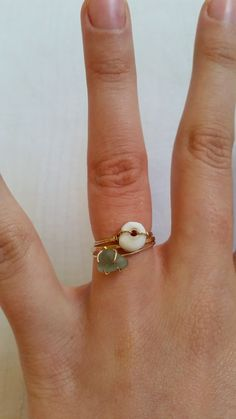 Tiny Hawaiian Puka Shell Wire Wrapped Stacking Ring  by Cosbella