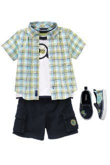 Cute outfit for baby boy. Has the plaid and cargo shorts that I love.