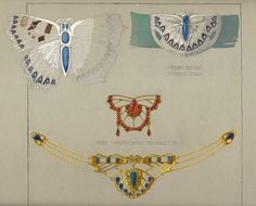 F. Lukes, design drawing for Jewellery made in Bohemia, 1911. Vienna.