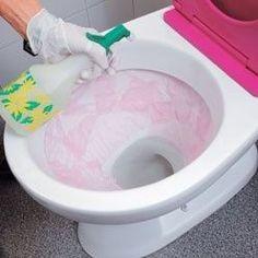détartrage d'une cuvette de toilette au vinaigra blanc