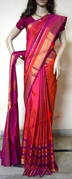 Indian Traditional Handloom Sarees: Uppada Orange with pink Color Silk Saree with Gold...