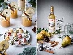 Lillet Winter Thyme For 1 drink: 5 cl Lillet Blanc 5 cl pear juice 5 cl tonic water 2 cl Tonic Water, Party Drinks, Cocktail Drinks, Lillet Berry, Cinnamon Syrup, Winter Drinks, Christmas Cocktails, Vegetable Drinks, Healthy Eating Tips