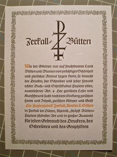 """Inserted in between the pages of my copy of the Klingspor Kalender for 1938 was this delightful little advert for Zerkall Papers. It brandishes a device that looks like it may have been designed by Rudolf Koch, the great calligrapher and type designer who designed the typeface """"Claudius"""" used for the ad."""