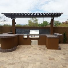 Im Diggin The Round Table Going On Here With Simple Cover And Shape Bbq IslandBackyard KitchenPatio IdeasGarden