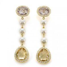Amythest, Citrine, Pearl & Diamond Earrings 18k - Friedmann