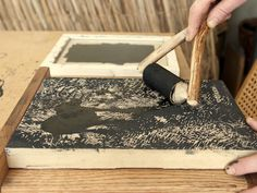 I use ink brayers that I make from wood and leather to ink my woodblocks when printmaking. Learn how to make one: http://www.nickneddo.com/shop/the-organic-artist-book