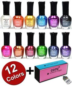 Kleancolor Nail Polish Awesome Metallic Full Size Lacquer Lot of 12 Set   COTU ® Brand Nail Buffer Block (1 pc) -- Read more reviews of the product by visiting the link on the image.