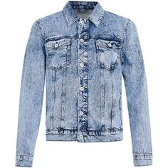 Acid Wash Denim Western Jacket (705 NOK) ❤ liked on Polyvore featuring outerwear, jackets, cowboy jacket, blue jackets, cowboy denim jacket, acid wash jacket and western jacket