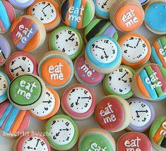 Alice in Wonderland  Eat Me mini cookies  clock by SweetArtSweets, $22.50