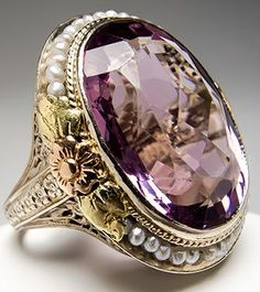 Antique Natural Amethyst & Seed Pearl Cocktail Ring 14K Gold.