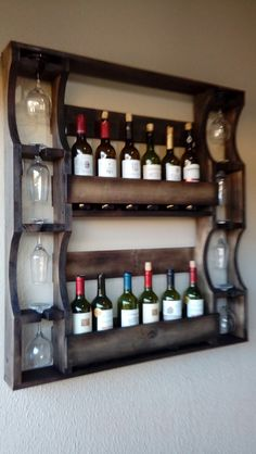 35 wine racks decorate your home life Creative wine racks in home life Wine Barrel Wall, Wine Rack Wall, Wine Glass Rack, Wooden Pallet Projects, Diy Pallet Furniture, Bar Furniture, Home Bar Designs, Home Design, Wine Rack Design