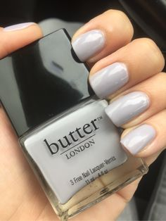 """Muggins"" butter LONDON light grey creme nail polish"