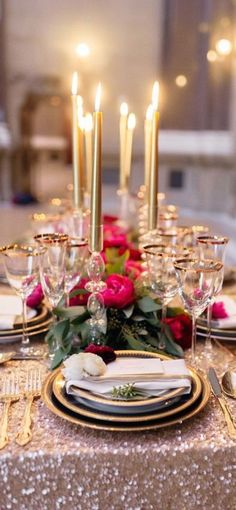 Gold tones, sparkles and bright pink. Glamour all over  Follow @DYTWeddingBlog for more!