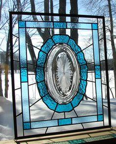 Crystal Sunburst vintage plate panel Aqua by Barbarasstainedglass, $150.00