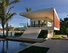 Pool House (La Gorce Island, Miami Beach, FL) by Touzet Studio.My idea of a beach house! Miami Beach House, Design Exterior, Beach House Plans, Palm Springs, Interior Architecture, Installation Architecture, Minimalist Architecture, Building Architecture, Beautiful Homes
