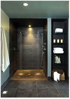 Doorless Shower Designs Teach You How To Go With The Flow Bathroom Spa Bathroom Design, Pictures, Remodel, Decor and Ideas - page nachher Verweis Badezimmer Aufbewahrungslö. Spa Bathroom Design, Spa Design, Bathroom Spa, House Design, Bathroom Layout, Bathroom Plumbing, Bath Design, Budget Bathroom, Tile Design