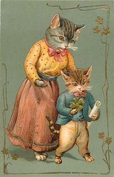 mother cat stands behind kitten who is holding shamrock & a scroll Vintage Christmas Images, Antique Christmas, Christmas Postcards, Animal Gato, Retro, Illustration Noel, Mother Cat, Cat Stands, Gatos Cats