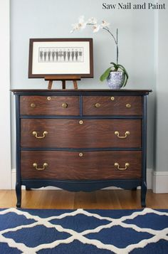 Coastal Blue and Java Antique Chest Restoration | Saw Nail and Paint