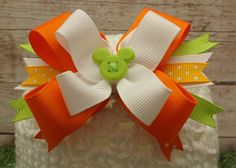 Spring Citrus Mickey Mouse Button Boutique Hair Bow $6 #etsy #disney #mickey #hairbow