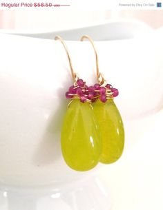 SALE 10% OFF Pink Tourmaline Earrings, Chartreuse Olive Jade, 14k Gold, Wire Wrapped, Teardrop Gemstone, Handmade Jewelry, Indian Summer