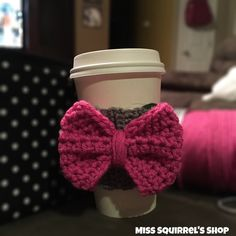 Pink and Gray Bow Drink CozyCoffee CozyCup by MissSquirrelsShop