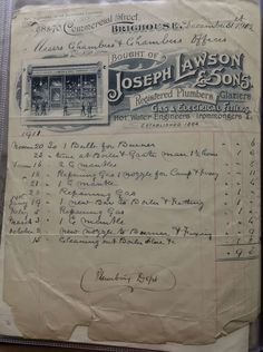 Joseph Lawson & Sons Brighouse Ironmongers & Plumbers Invoice 1912