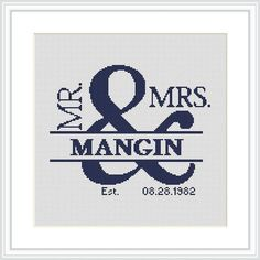 wedding Cross Stitch Pattern PDF Anniversary gift for him or her Mr and Mrs Personalized Wedding gift Scheme cross stitch Custom wedding Cross Stitch Pattern PDF Mr and MrsCustom wedding Cross Stitch Pattern PDF Mr and Mrs Cross Stitching, Cross Stitch Embroidery, Embroidery Patterns, Wedding Cross Stitch Patterns, Cross Stitch Designs, Personalized Wedding Gifts, Embroidery Techniques, Couture, Crossstitch
