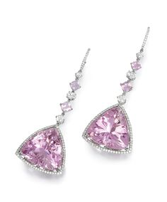 PAIR OF KUNZITE, SPINEL AND DIAMOND PENDENT EARRINGS, MICHAEL YOUSSOUFIAN.  Each composed of a triangular kunzite bordered by brilliant-cut diamonds, suspending from a line of similarly-cut and oval diamonds and cushion-shaped spinels, mounted in white gold,  signed MY.
