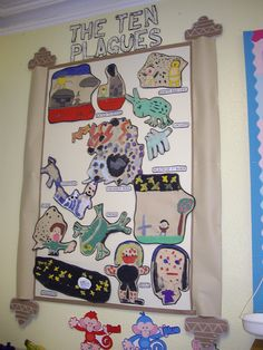 Allow children to partner together to create bulletin board symbols for each of the 10 plagues.
