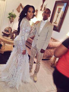 6e6358934b Feathered glitter fishtail off white prom dress Kurt campbell