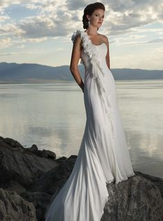 A-line One Shoulder Chapel Train Charming Chiffon beach wedding dress