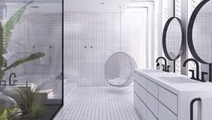Contemporary minimalistic bathroom design, urban bathroom design, atrium with tropical plants, bathroom with atrium Contemporary Bathroom Designs, Contemporary Home Decor, Modern Bathroom, Master Bathroom, Bathroom Ideas, Contemporary Apartment, Washroom, Bathroom Remodeling, Contemporary Design