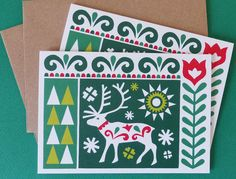 These Scandinavian style Christmas cards have been designed by myself and come in a pack of two. They are on sale at my shop, Fran Wood Design on Etsy and Folksy.