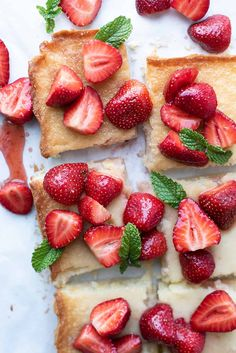 Ooey Gooey Strawberry Chewy Butter Bars will satisfy your sweet tooth.. and then some! This rich