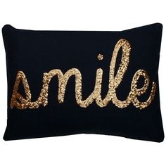 Thro Home Smile Sequin Script Faux Linen Pillow - Peacoat Navy/Gold ($25) ❤ liked on Polyvore featuring home, home decor, throw pillows, peacoat navy gold, navy blue accent pillows, gold home decor, gold toss pillows, dark blue throw pillows and gold home accessories