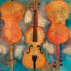 Violins painted on sheet music