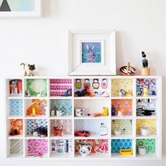 kids storage - love the colorful back of this cubby!
